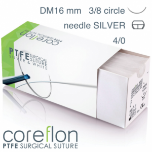 Coreflon 4/0 DM16 SILVER surgical suture PTFE (12pcs.)