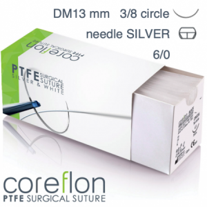 Coreflon 6/0 DM13 SILVER surgical suture PTFE (12pcs.)