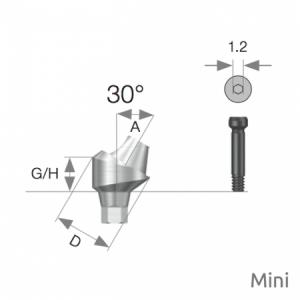 Multi Winkel Abutment Mini D4.8 x A30 x G/H3.5