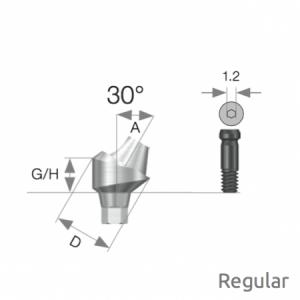 Multi Winkel Abutment Regular D4.8 x A30 x G/H5.0