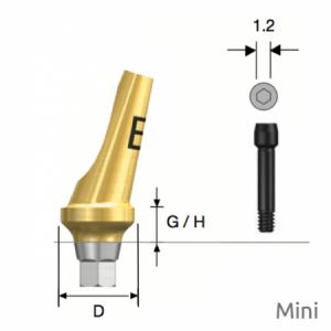 Abgewinkeltes Abutment Mini Hex B Type D4.5 x G/H4.0