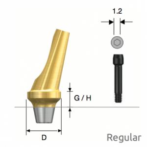 Abgewinkeltes Abutment Regular Non-Hex D6 x G/H4.0