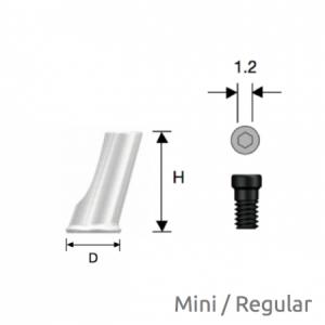 Convertible  Abgewinkelter Zylinder Mini/Regular D4 x H8 Non-Hex