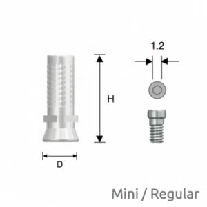 Convertible Provisorischer Zylinder Mini/Regular D4.0 Non-Hex