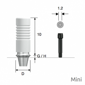 GoldCast Abutment Mini D4.0 x G/H1.0 Non-Hex