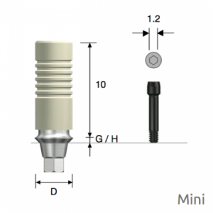 GoldCast Abutment Mini D4.0 x G/H1.0 Hex