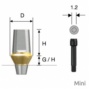 Transfer Abutment Mini D4.5 x H5.5 x G/H2.0 Non-Hex
