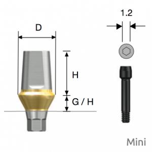 Transfer Abutment Mini D4.5 x H5.5 x G/H2.0 Hex