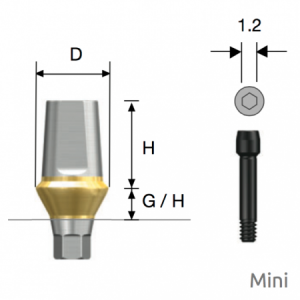 Transfer Abutment Mini D4.5 x H5.5 x G/H3.0 Hex