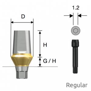Transfer Abutment Regular D4.5 x H5.5 x G/H1.0 Hex