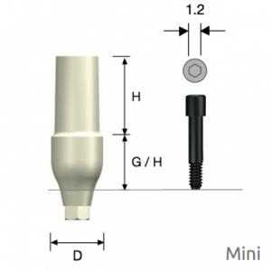 ZioCera Abutment Mini D4.5 x H7.0 x G/H3.5 Hex