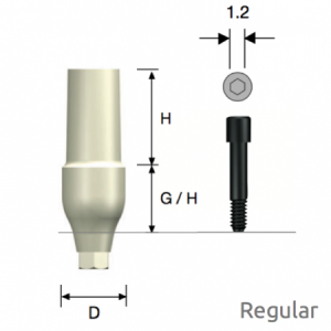 ZioCera Abutment Regular D4.5 x H7.0 x G/H3.5 Hex