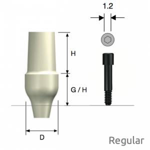 ZioCera Abutment Regular D5.5 x H7.0 x G/H3.5 Non-Hex