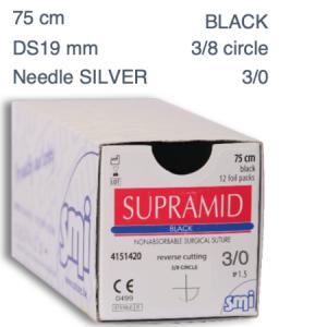 SUPRAMID 3/0 DS19 3/8 SILVER/BLACK 75cm surgical suture  (12pcs.)