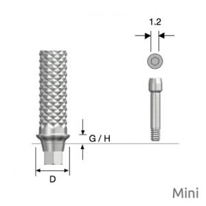 Temporäres Abutment Mini D4.0 x G/H1.0 Hex