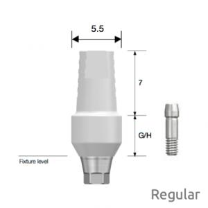 Temporäres PEEK Abutment Regular D5.5 x G/H5.0 Hex